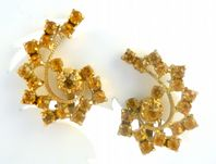 Vintage Amber Rhinestone Climbing Clip On Earrings.